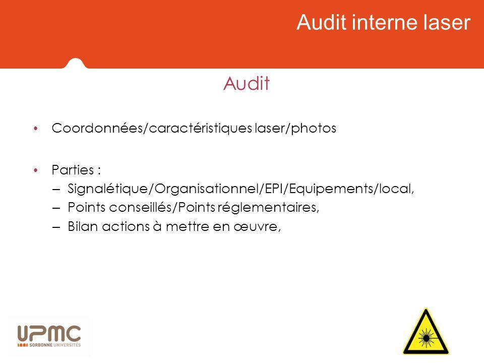 Audit interne laser Audit Coordonnées/caractéristiques laser/photos