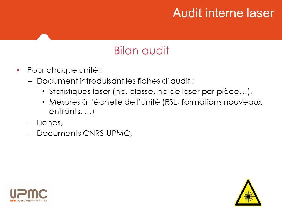 Audit interne laser Bilan audit Pour chaque unité :