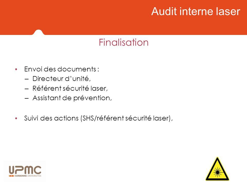 Audit interne laser Finalisation Envoi des documents :