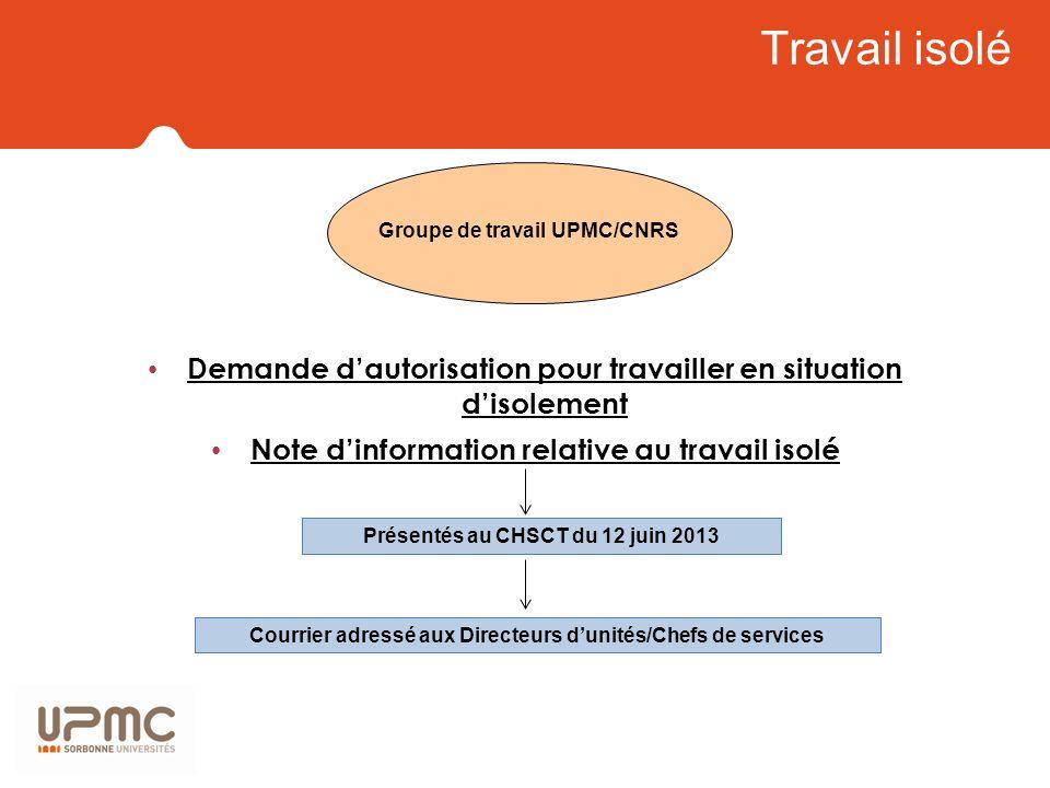 Travail isolé Groupe de travail UPMC/CNRS. Demande d'autorisation pour travailler en situation d'isolement.