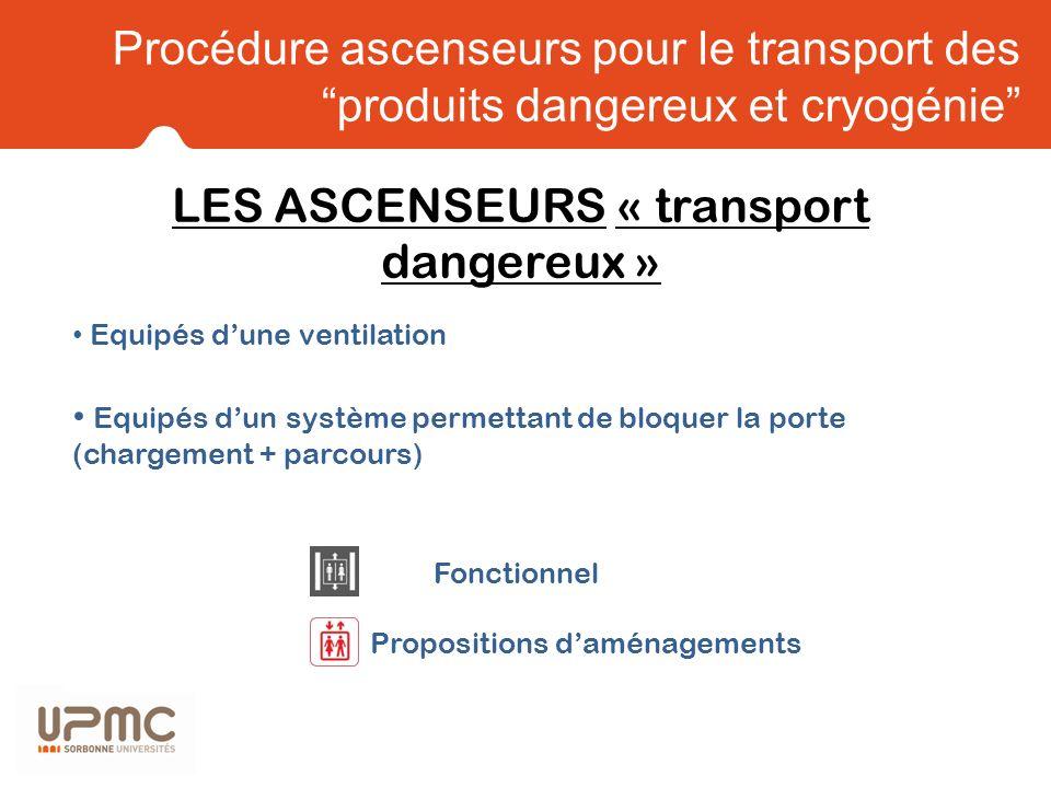 LES ASCENSEURS « transport dangereux »