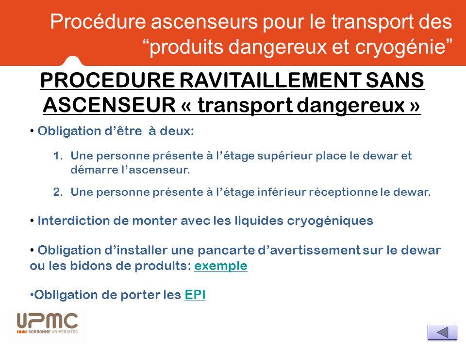 PROCEDURE RAVITAILLEMENT SANS ASCENSEUR « transport dangereux »