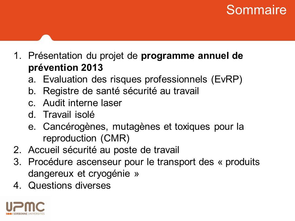 Sommaire Présentation du projet de programme annuel de prévention 2013