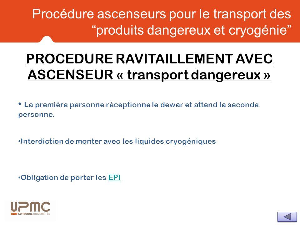 PROCEDURE RAVITAILLEMENT AVEC ASCENSEUR « transport dangereux »