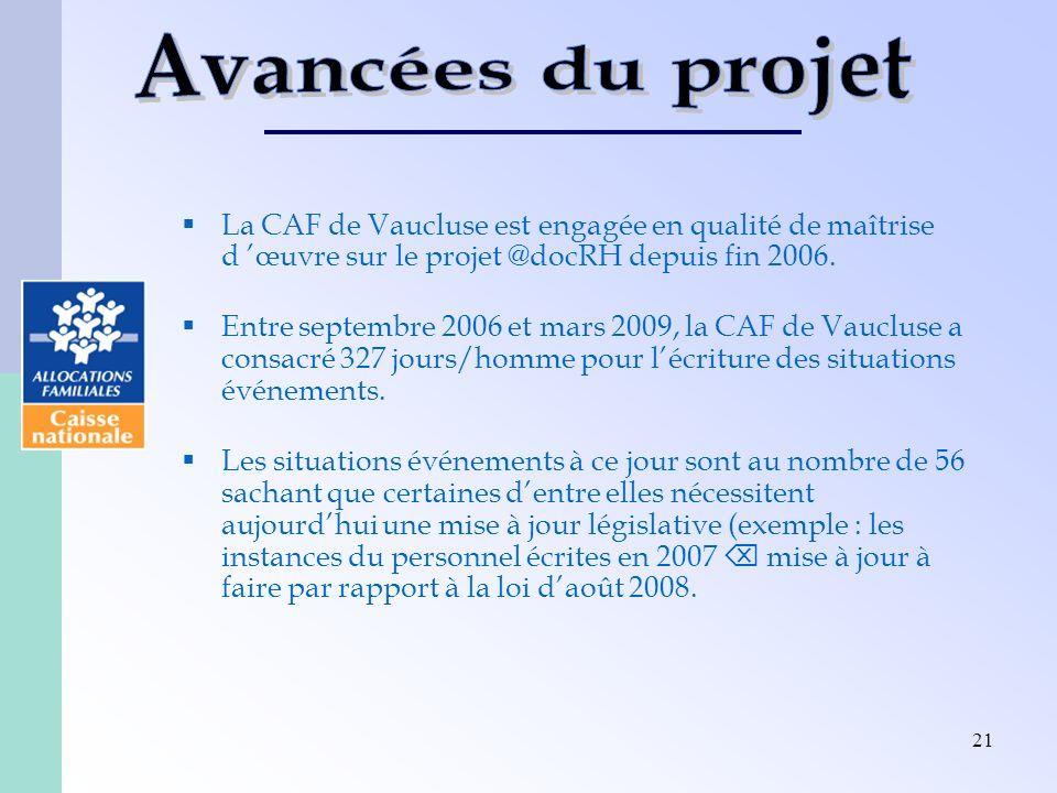Avancées du projet La CAF de Vaucluse est engagée en qualité de maîtrise d 'œuvre sur le projet @docRH depuis fin 2006.