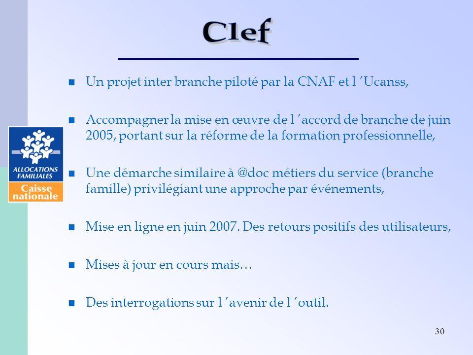 Clef Un projet inter branche piloté par la CNAF et l 'Ucanss,