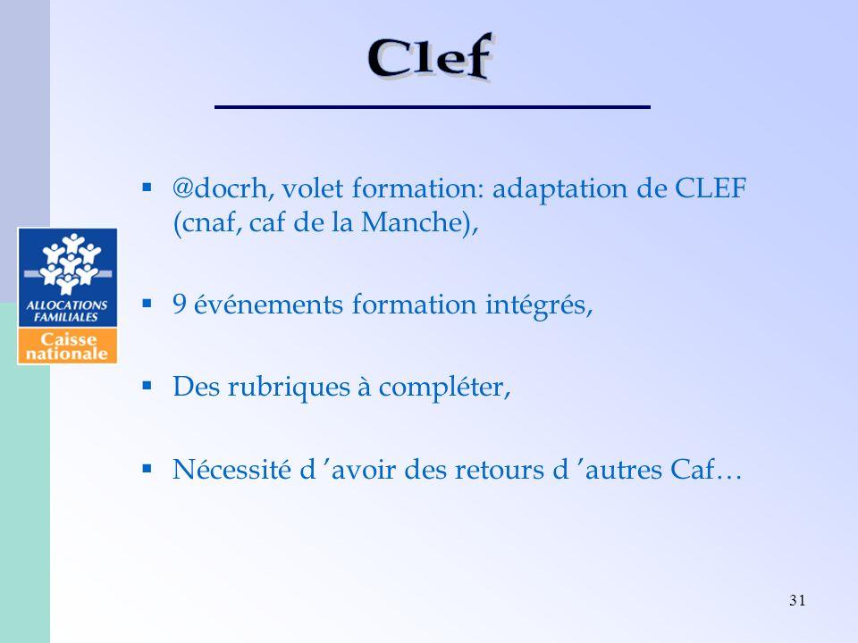 Clef @docrh, volet formation: adaptation de CLEF (cnaf, caf de la Manche), 9 événements formation intégrés,
