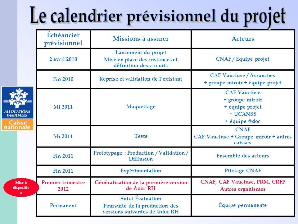 Le calendrier prévisionnel du projet