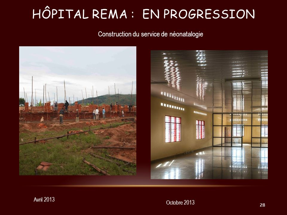 Hôpital Rema : en progression