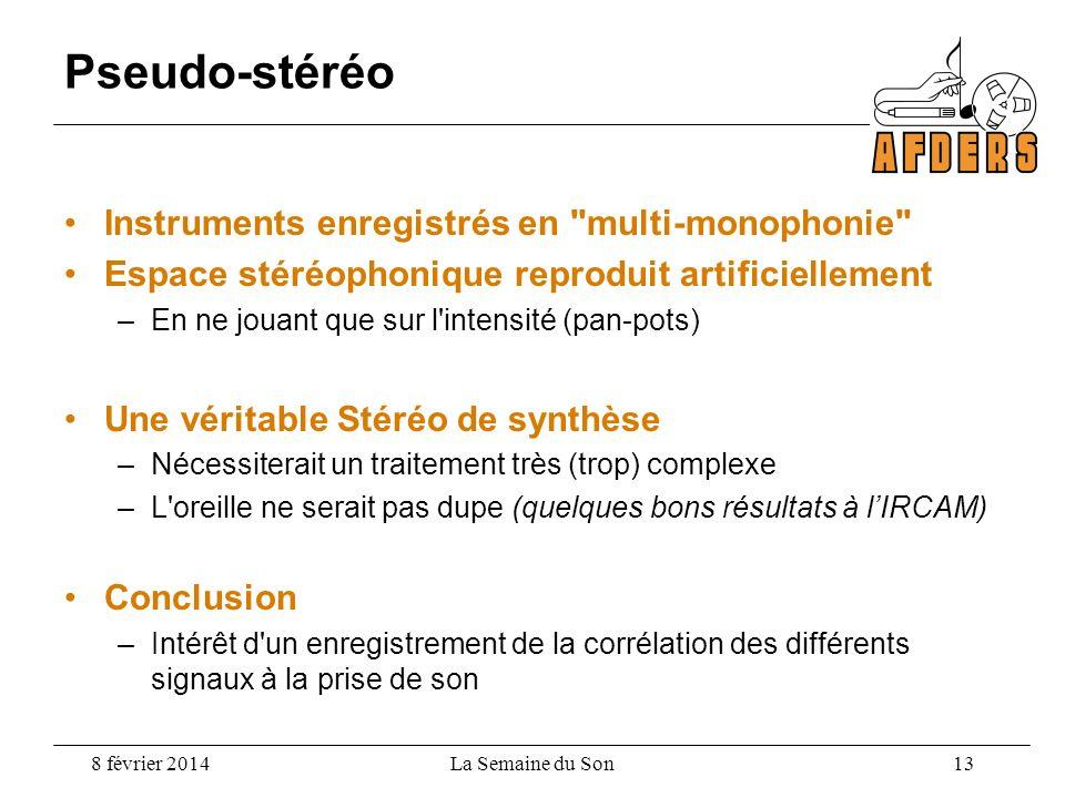 Pseudo-stéréo Instruments enregistrés en multi-monophonie