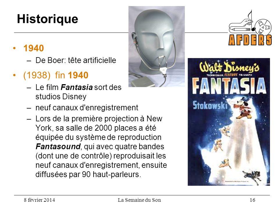 Historique 1940 (1938) fin 1940 De Boer: tête artificielle
