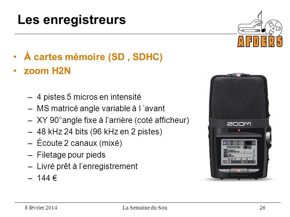 Les enregistreurs À cartes mémoire (SD , SDHC) zoom H2N