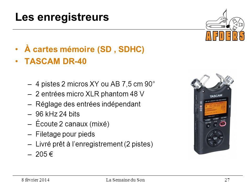 Les enregistreurs À cartes mémoire (SD , SDHC) TASCAM DR-40