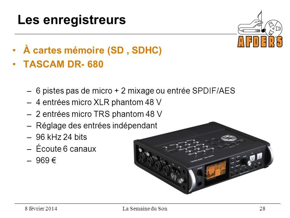 Les enregistreurs À cartes mémoire (SD , SDHC) TASCAM DR- 680