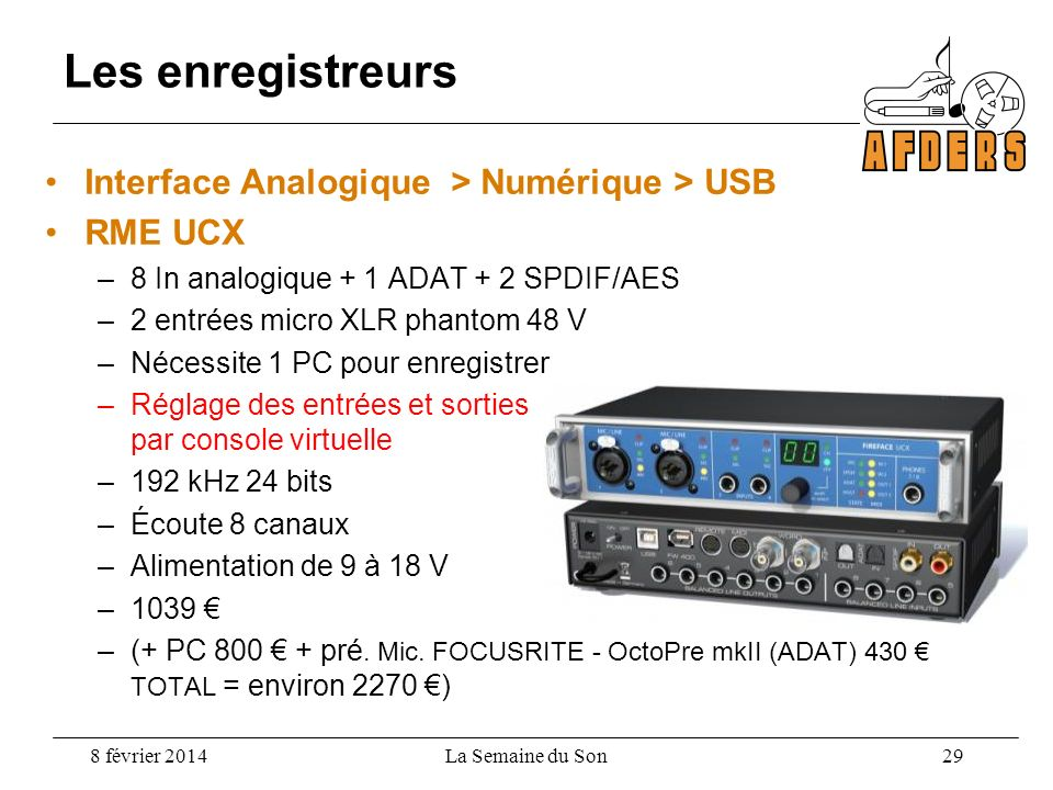 Les enregistreurs Interface Analogique > Numérique > USB RME UCX