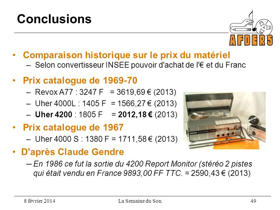 Conclusions Comparaison historique sur le prix du matériel