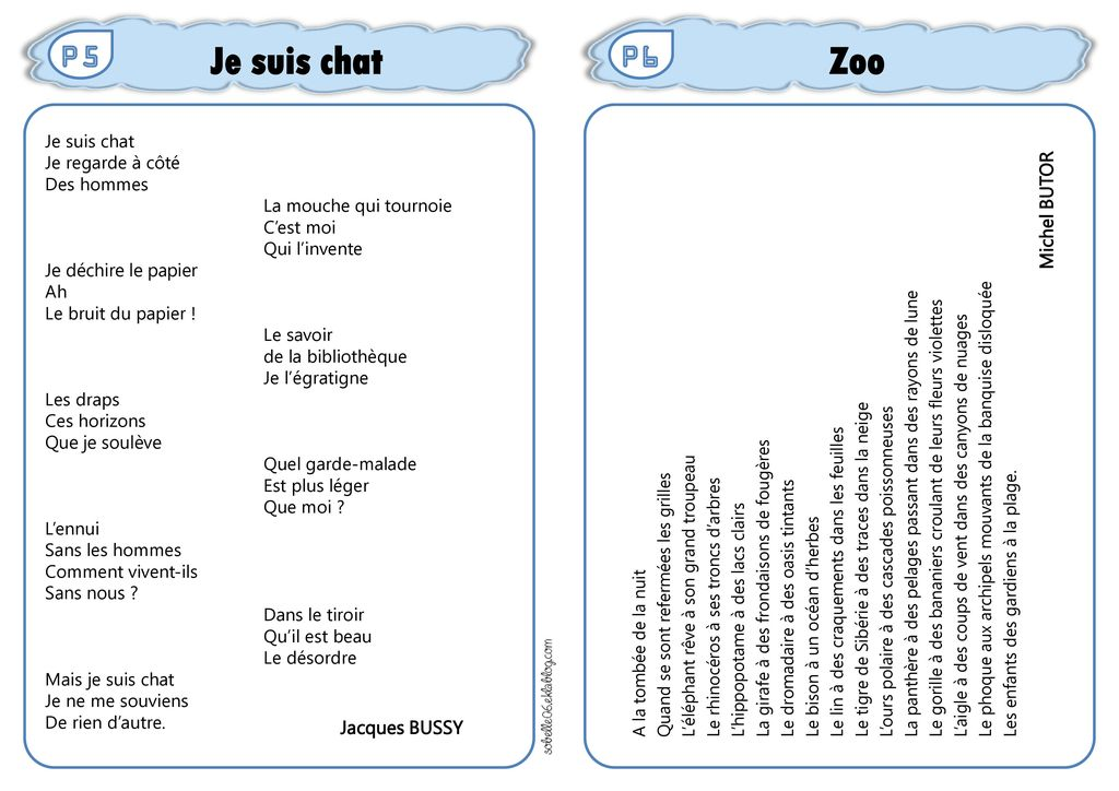 Je suis chat Zoo P5 P6 Michel BUTOR Jacques BUSSY Je suis chat