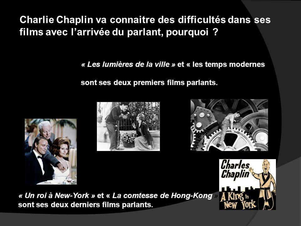 Charlie Chaplin va connaitre des difficultés dans ses films avec l'arrivée du parlant, pourquoi