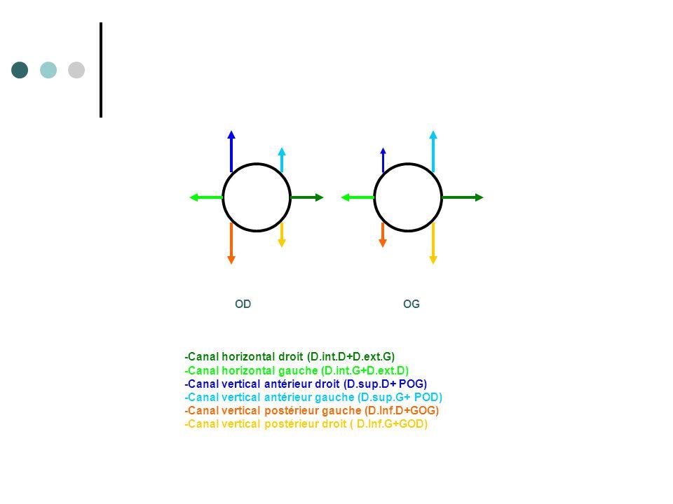 OD OG -Canal horizontal droit (D.int.D+D.ext.G) -Canal horizontal gauche (D.int.G+D.ext.D)