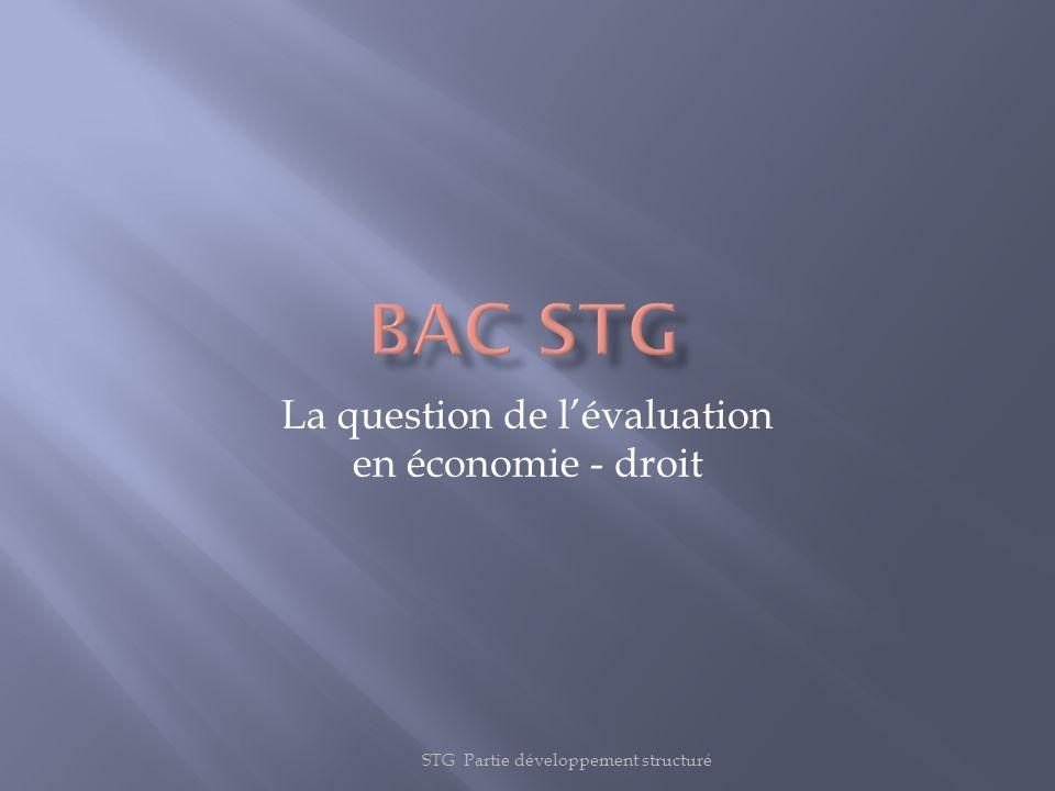 La question de l'évaluation en économie - droit
