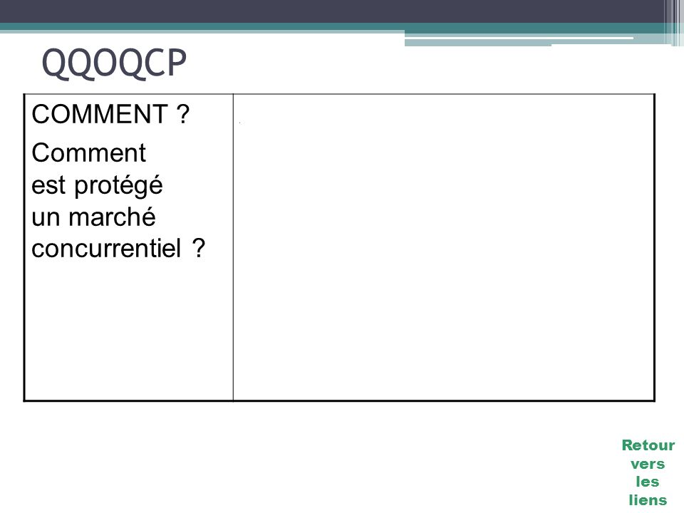 QQOQCP COMMENT Comment est protégé un marché concurrentiel