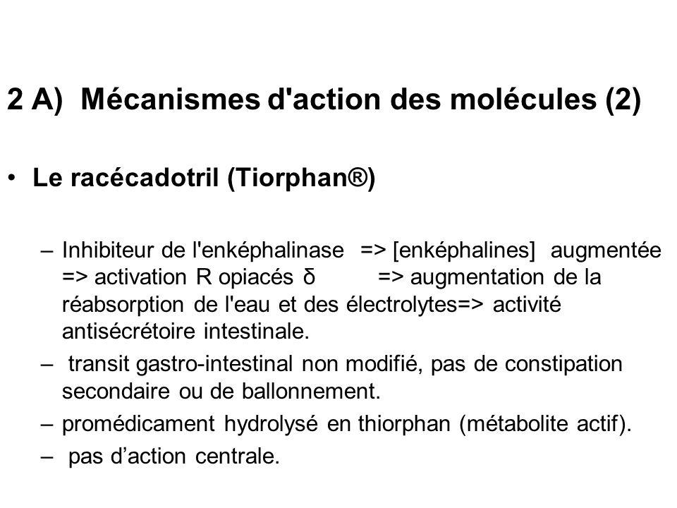 2 A) Mécanismes d action des molécules (2)