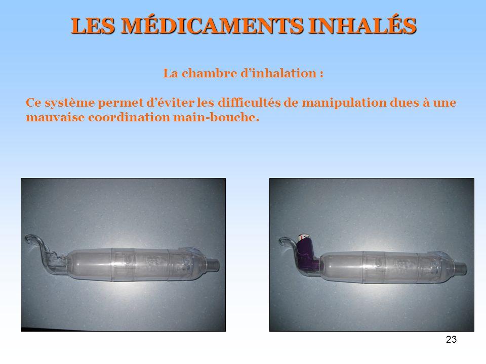 LES MÉDICAMENTS INHALÉS La chambre d'inhalation :