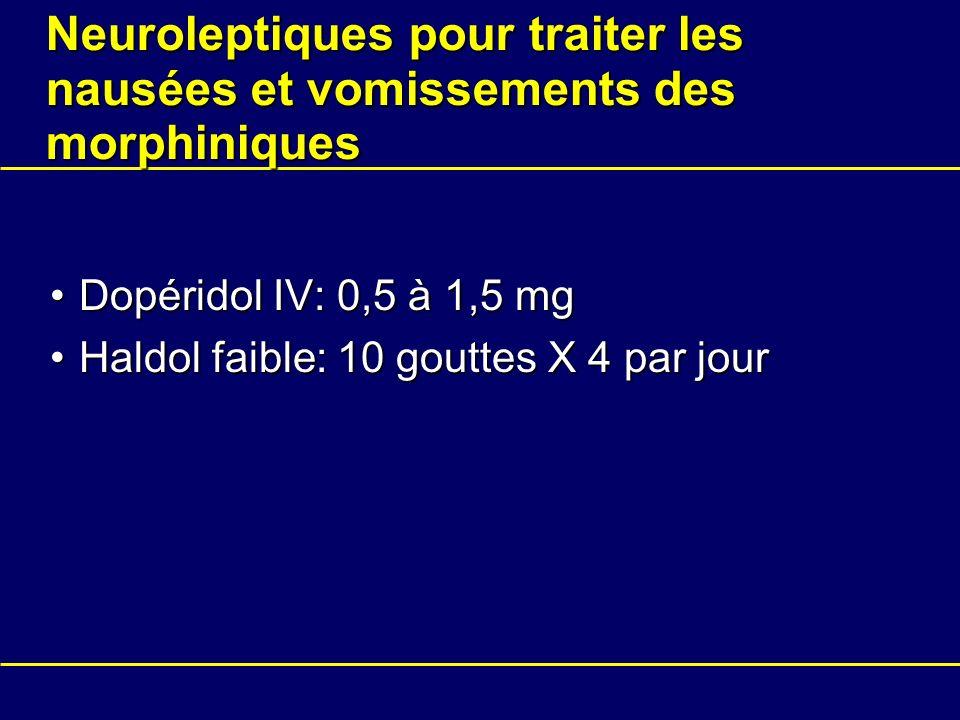 Neuroleptiques pour traiter les nausées et vomissements des morphiniques