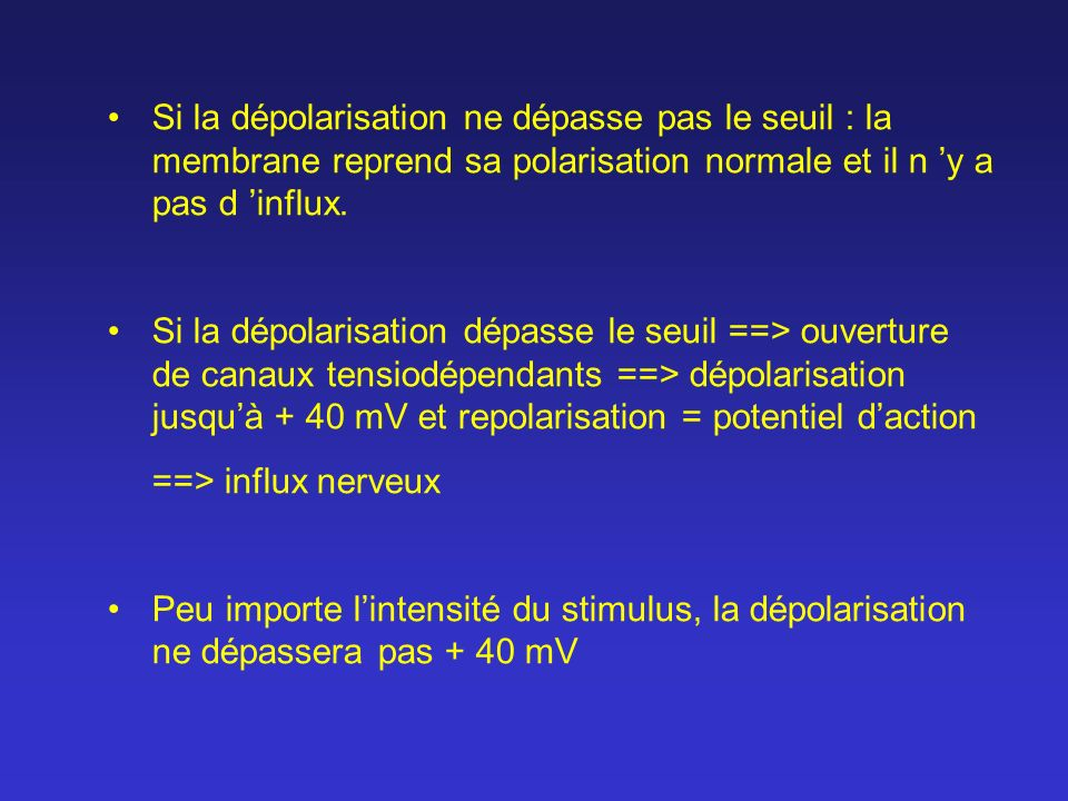 Si la dépolarisation ne dépasse pas le seuil : la membrane reprend sa polarisation normale et il n 'y a pas d 'influx.