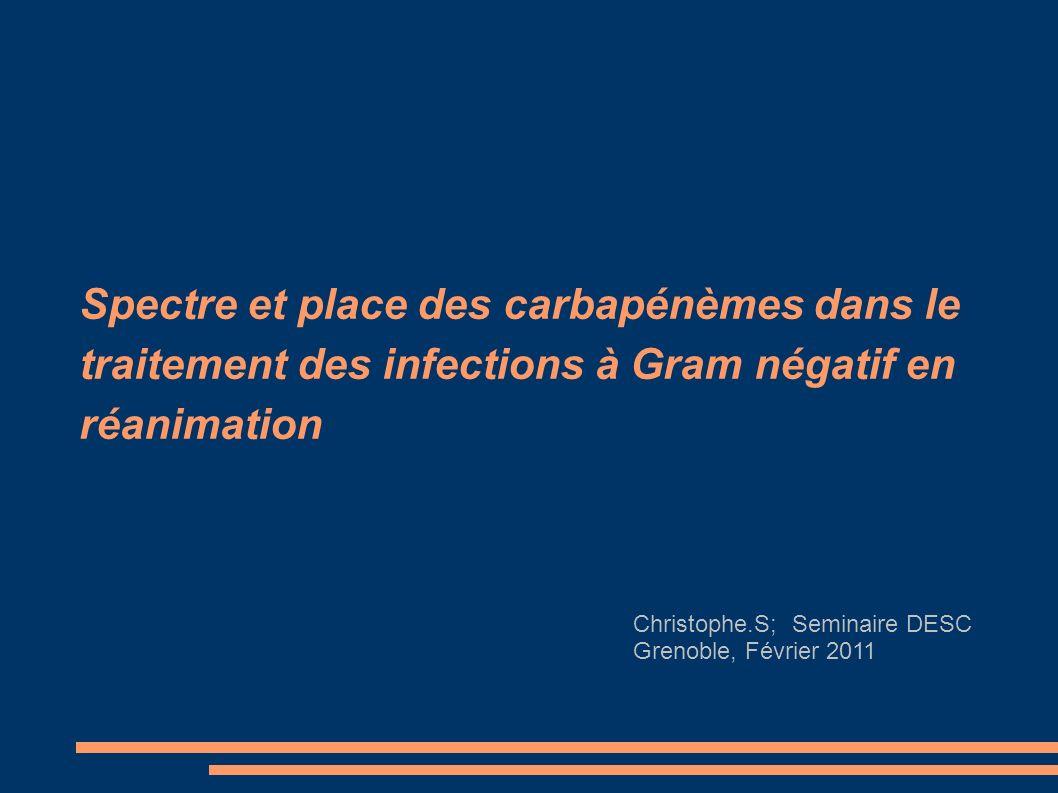 Spectre et place des carbapénèmes dans le traitement des infections à Gram négatif en réanimation