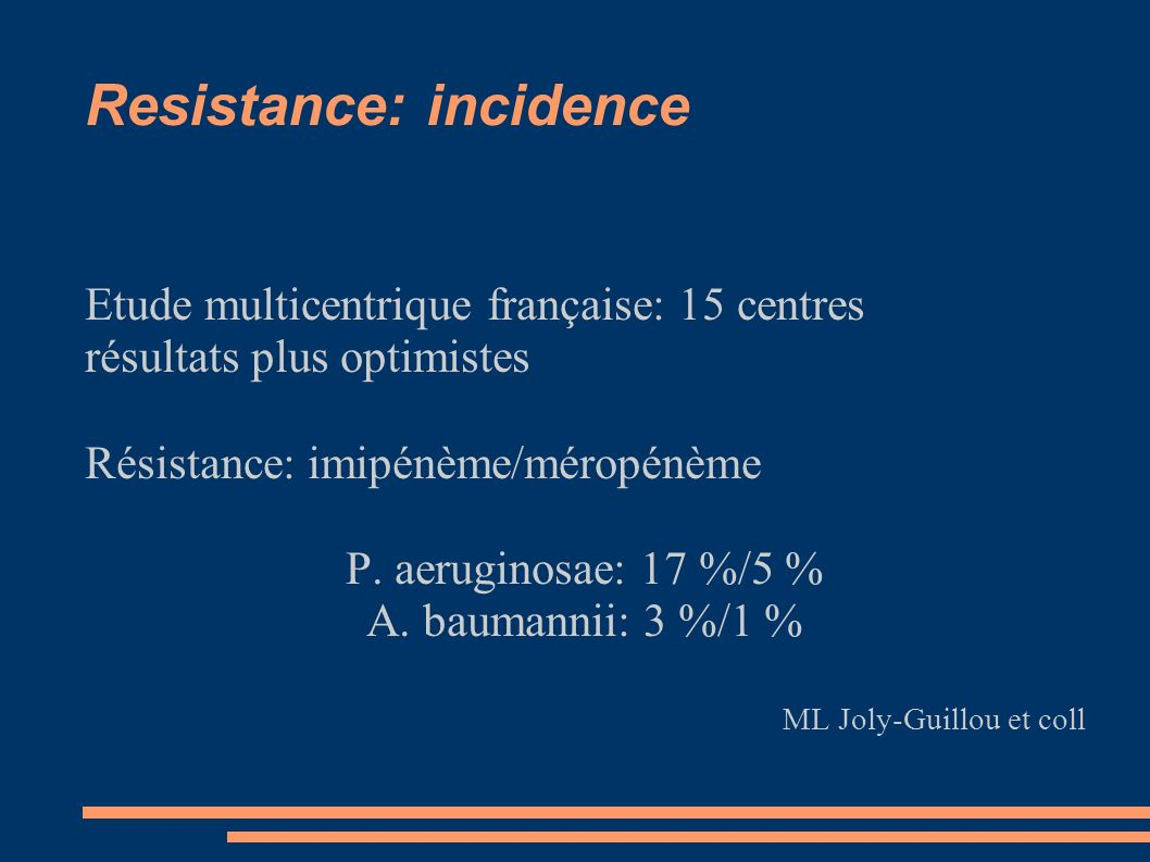 Resistance: incidence