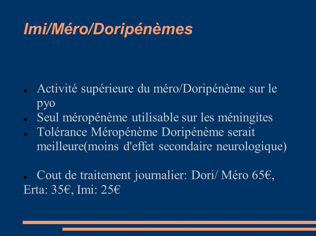 Imi/Méro/Doripénèmes