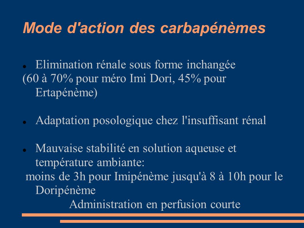 Mode d action des carbapénèmes