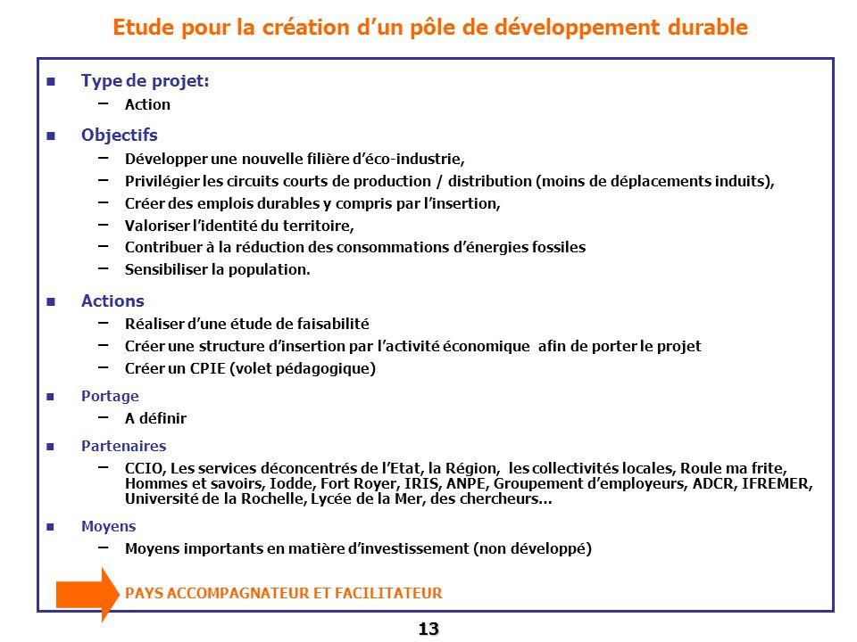 Etude pour la création d'un pôle de développement durable