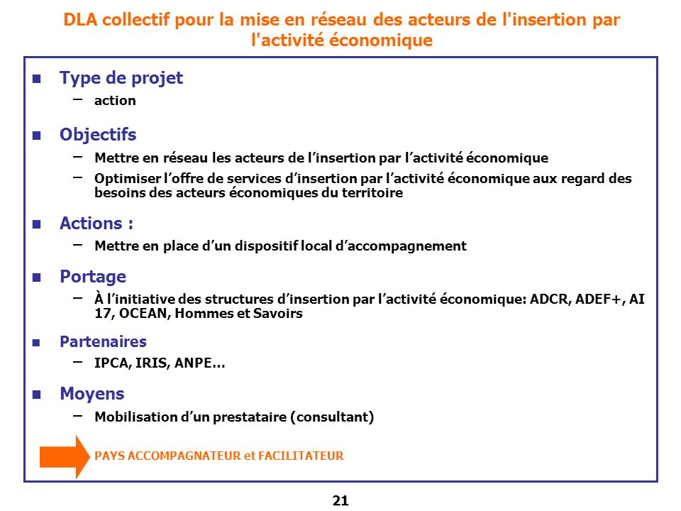 DLA collectif pour la mise en réseau des acteurs de l insertion par l activité économique
