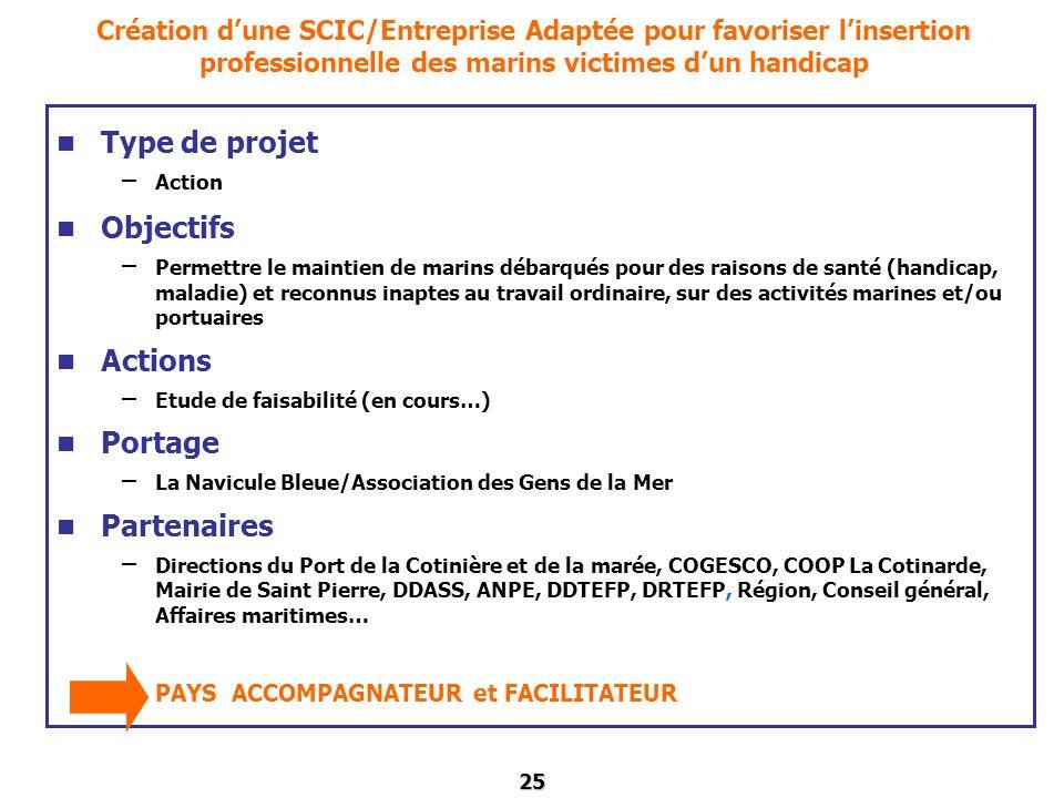 Type de projet Objectifs Actions Portage Partenaires