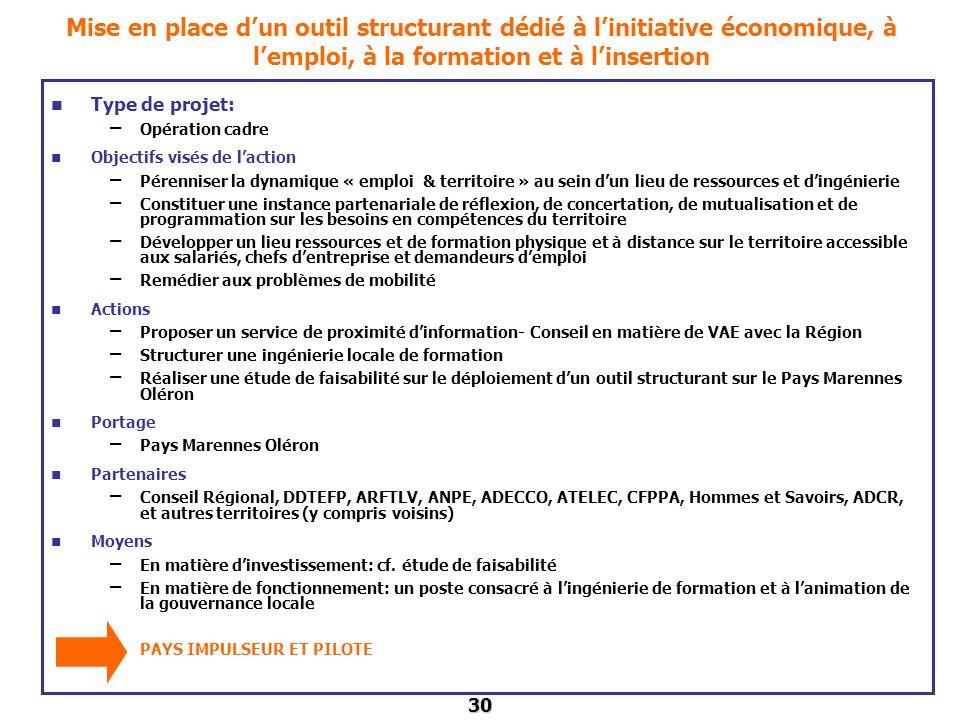 Mise en place d'un outil structurant dédié à l'initiative économique, à l'emploi, à la formation et à l'insertion