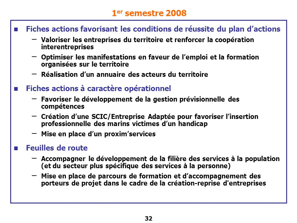 1er semestre 2008 Fiches actions favorisant les conditions de réussite du plan d'actions.