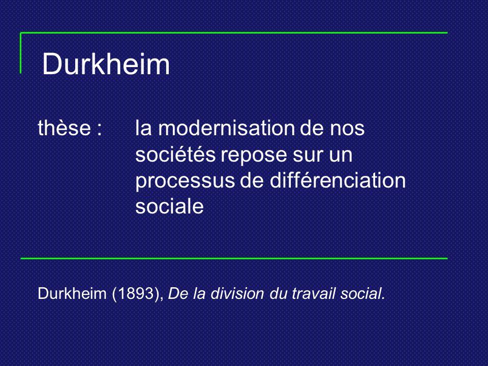 Durkheim thèse : la modernisation de nos sociétés repose sur un processus de différenciation sociale.