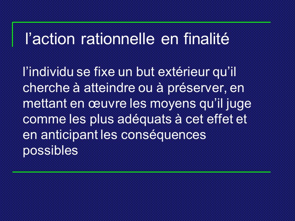 l'action rationnelle en finalité