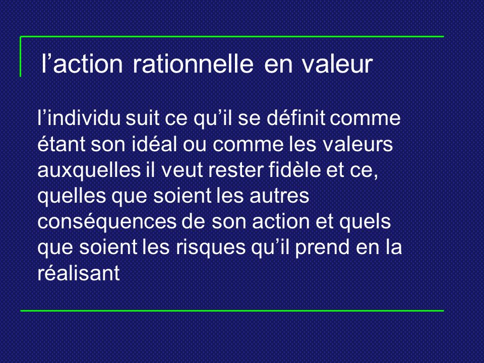 l'action rationnelle en valeur