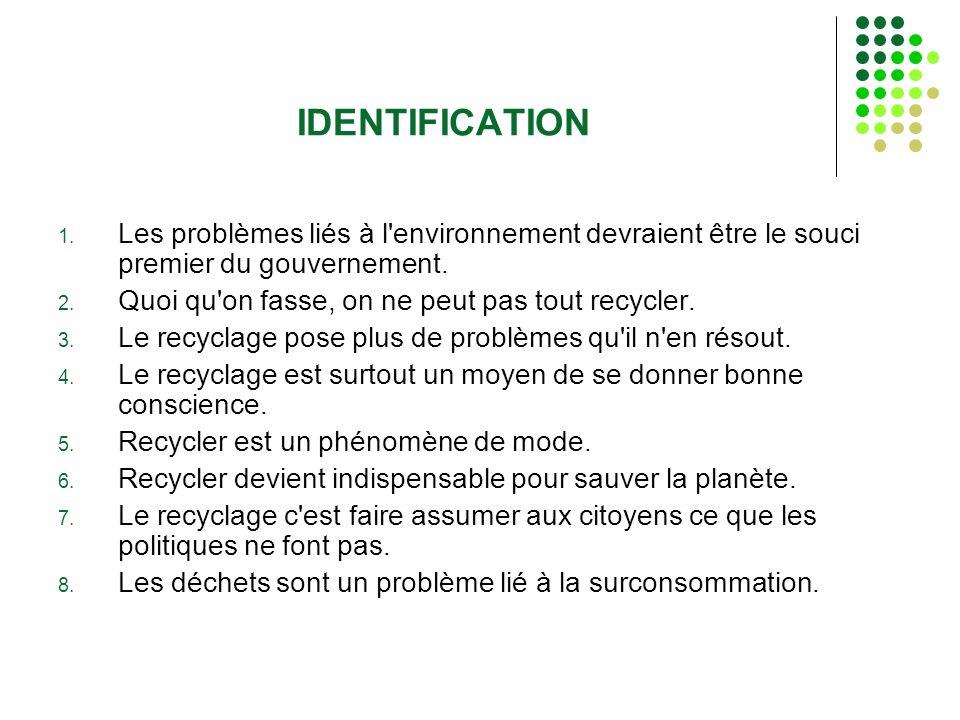 IDENTIFICATION Les problèmes liés à l environnement devraient être le souci premier du gouvernement.