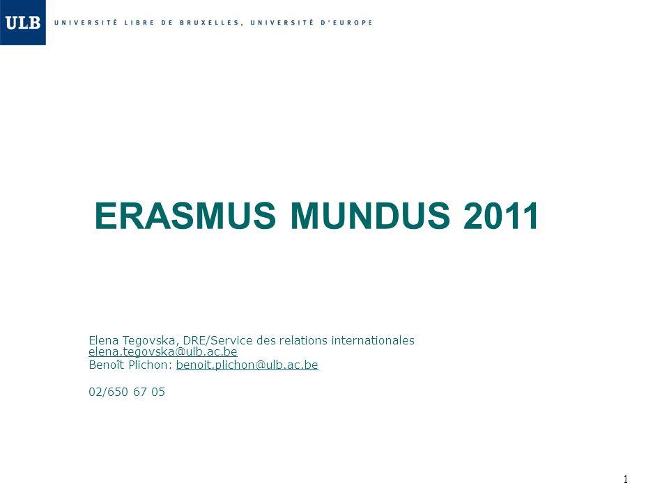 ERASMUS MUNDUS 2011 Elena Tegovska, DRE/Service des relations internationales elena.tegovska@ulb.ac.be.