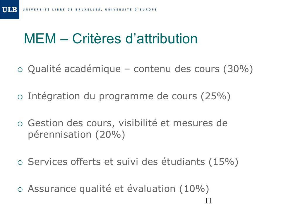 MEM – Critères d'attribution