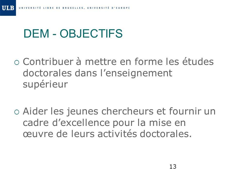 DEM - OBJECTIFS Contribuer à mettre en forme les études doctorales dans l'enseignement supérieur.