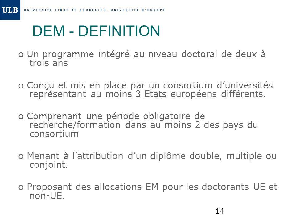 DEM - DEFINITION o Un programme intégré au niveau doctoral de deux à trois ans.