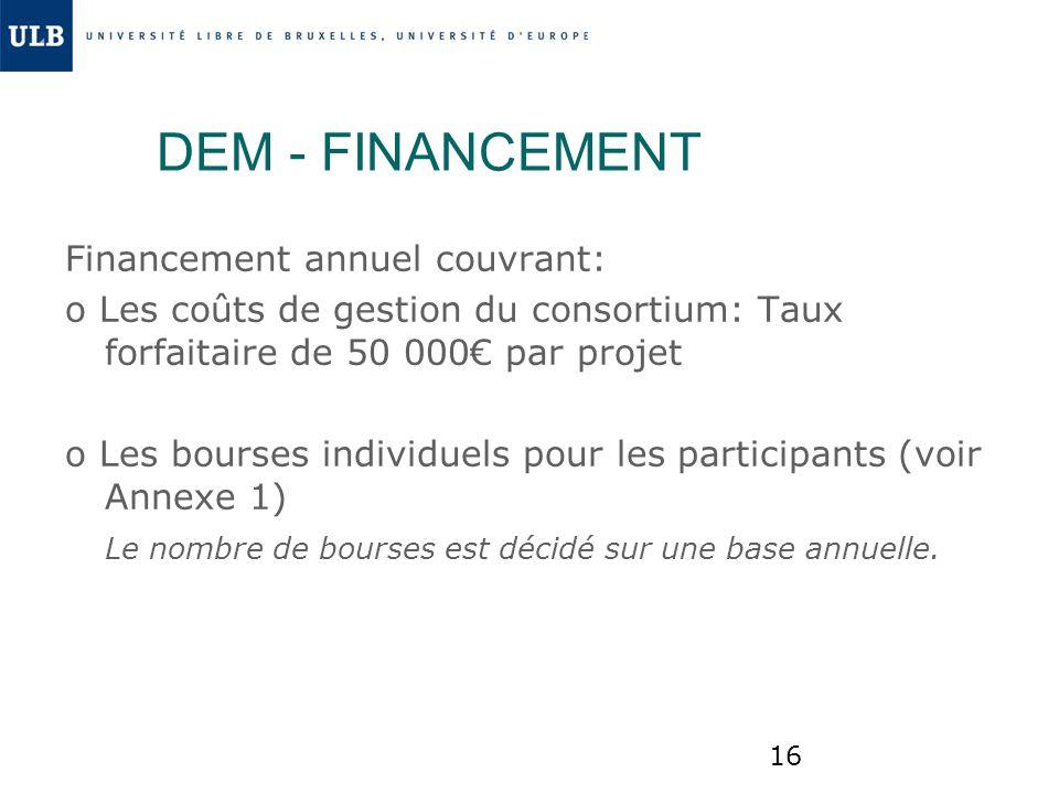 DEM - FINANCEMENT Financement annuel couvrant:
