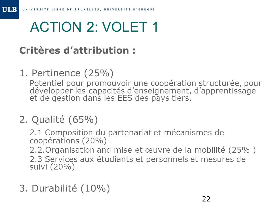 ACTION 2: VOLET 1 Critères d'attribution : 1. Pertinence (25%)