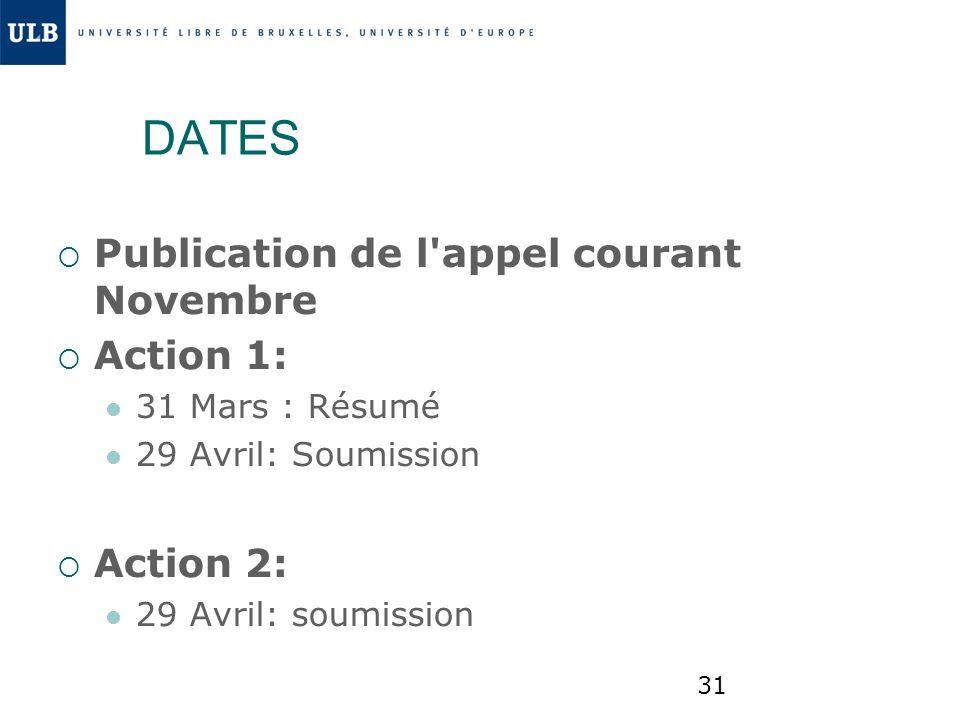 DATES Publication de l appel courant Novembre Action 1: Action 2: