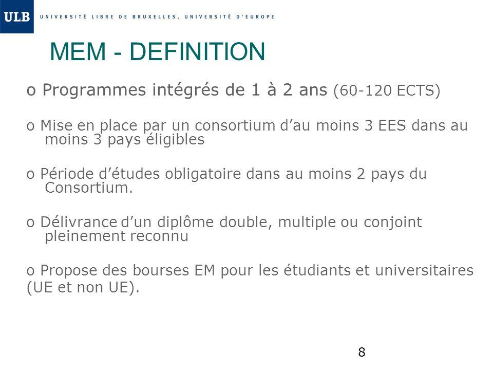 MEM - DEFINITION o Programmes intégrés de 1 à 2 ans (60-120 ECTS)